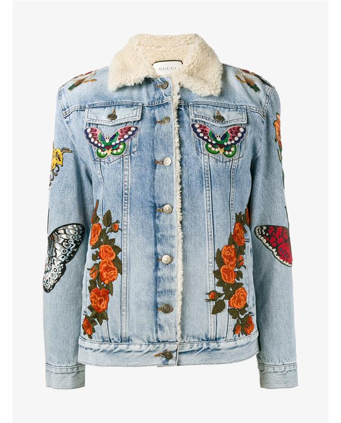 Gucci Women S Embroidered Denim Shearling Jacket In Blue Modesens