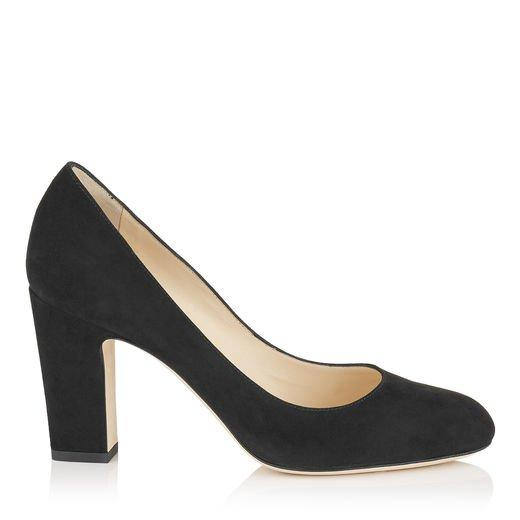 a7cdf92b4bc Jimmy Choo Billie 85 Black Suede Round Toe Pumps With Chunky Heel ...