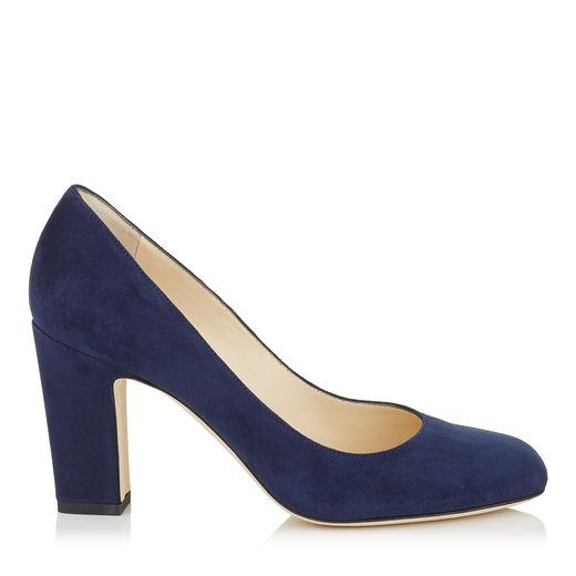 2194cfbafb6 Jimmy Choo Billie 65 Navy Suede Round Toe Pumps With Chunky Heel ...