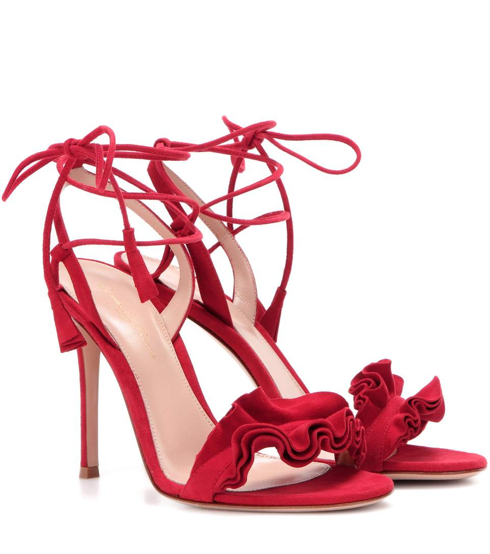 3d3c88bf4ec Gianvito Rossi Flora Ruffled Suede Lace-Up 85Mm Sandal In Postbox ...