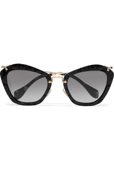 84ebcfc8f13 Miu Miu Cat-Eye Croc-Effect Acetate And Gold-Tone Sunglasses