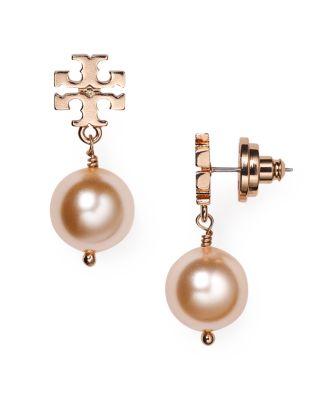 Tory Burch Simulated Pearl Drop Earrings In Rose Gold