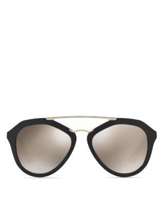 Prada Catwalk Combo Aviator Sunglasses, 54mm In Black/gold Mirror