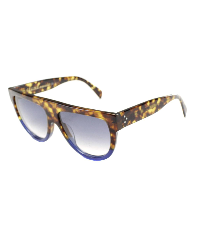 fea6828c9d8 Celine Shadow Cl 41026 S Plastic Flat Top Sunglasses In Tortoise Blue