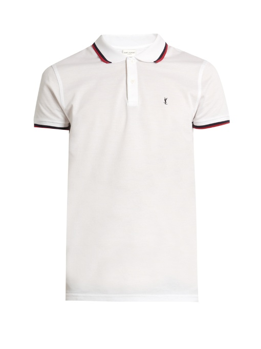 a66b8b267e9 Saint Laurent Slim-Fit Contrast-Tipped Cotton-PiquÉ Polo Shirt In White