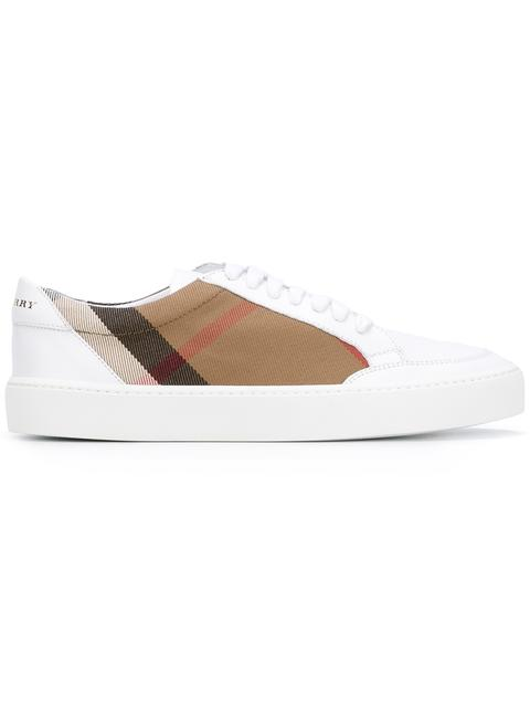 Burberry Salmond Check & Leather Low-Top Sneakers, White