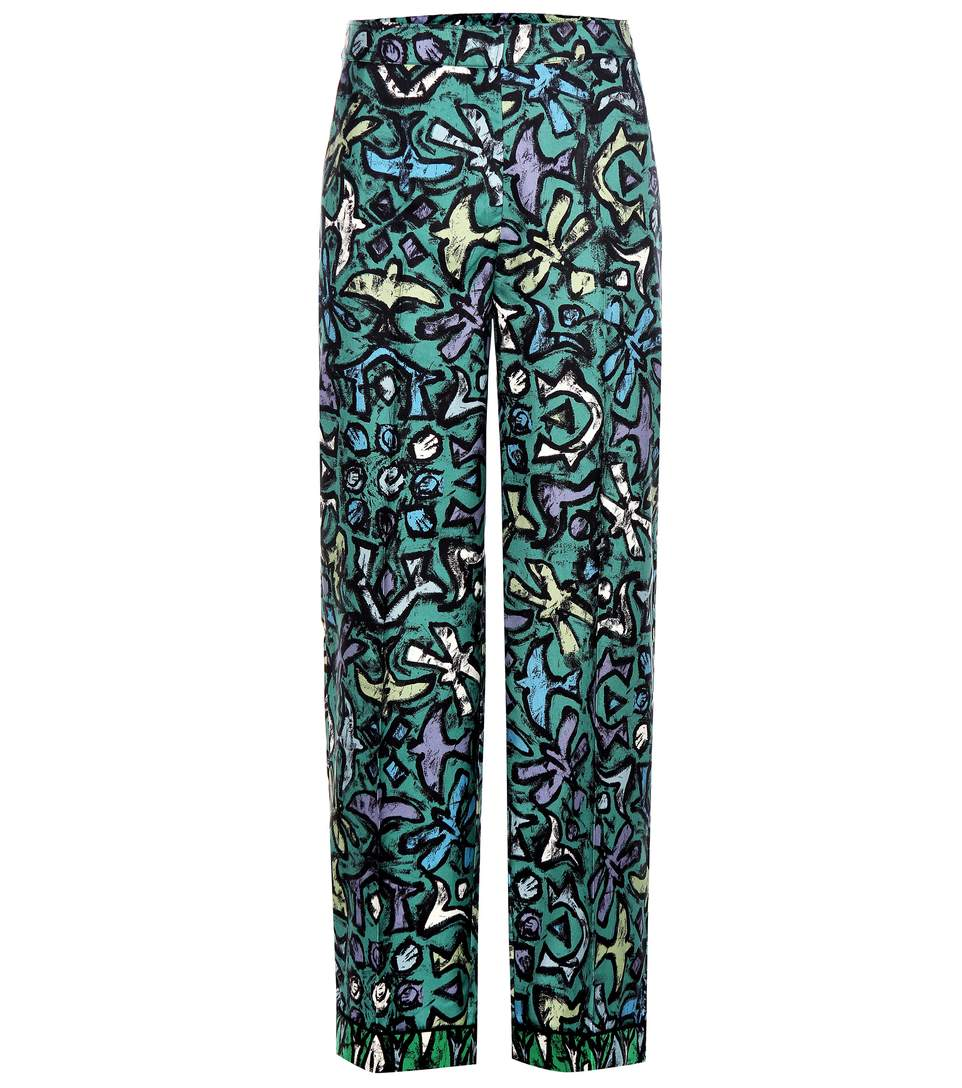 9c8be0253fc6e Valentino Abstract Print Flared Trousers In Multicoloured | ModeSens