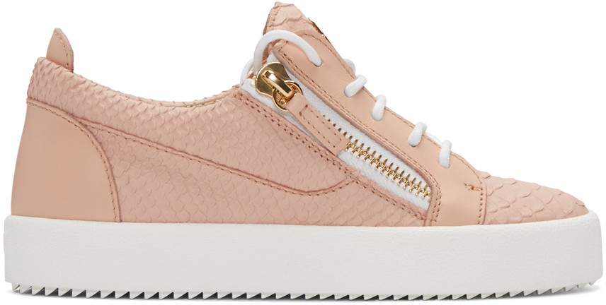 Giuseppe Zanotti 'may London' Snake Embossed Low Top Sneaker (women) (nordstrom Exclusive Color) In Pink