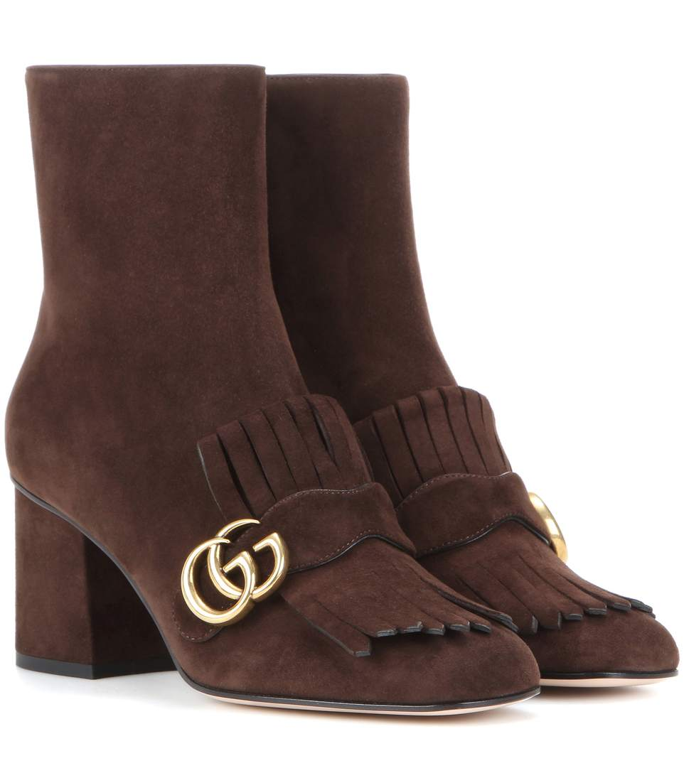 76e0e905431 Gucci Marmont 75Mm Fringe Ankle Boot In Brown