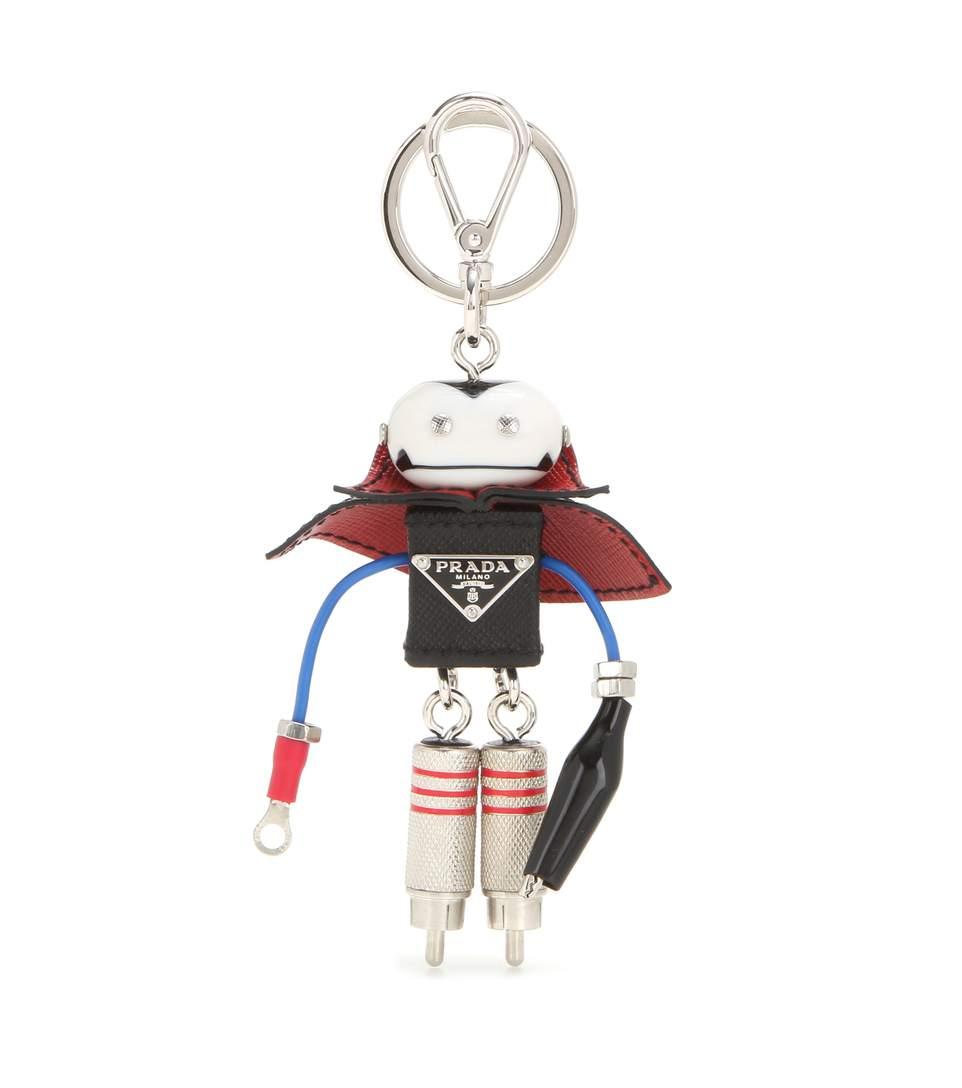 Prada Vlad Robot Trick Saffiano Leather Charm In Eero