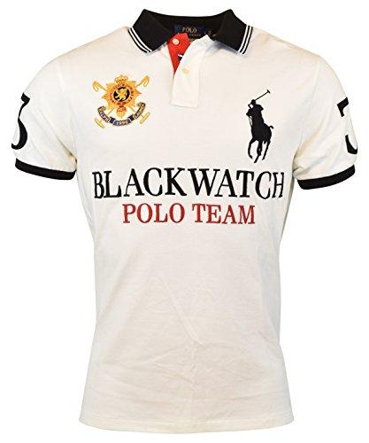 545740d339c0 Polo Ralph Lauren Men S Custom-Fit Blackwatch Polo In White Black ...