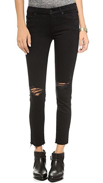 82fe823161b39 Mother The Swooner Dagger Ankle Fray Jeans In Guilty As Sin