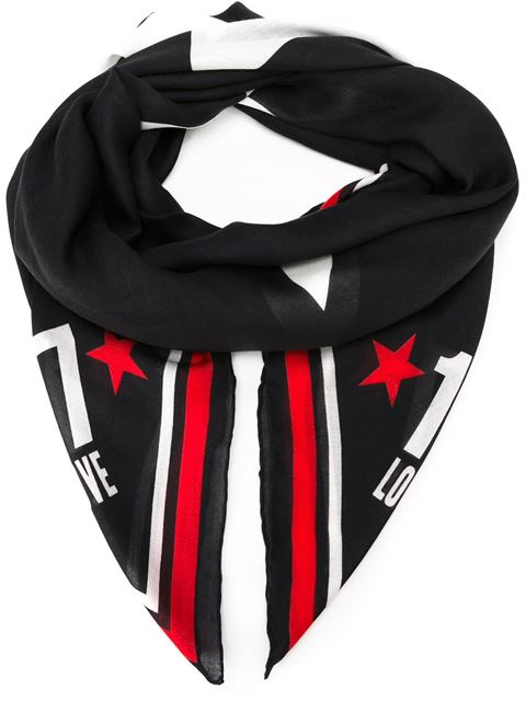 Givenchy Star Print Scarf In Black