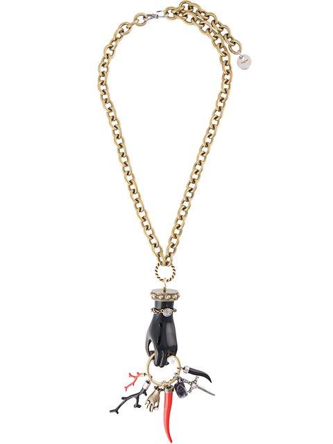 Lanvin Long Hand Pendant Necklace