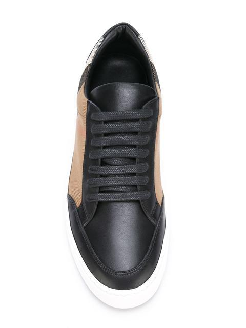 BURBERRY CHECK DETAIL LEATHER SNEAKERS,404005611758018