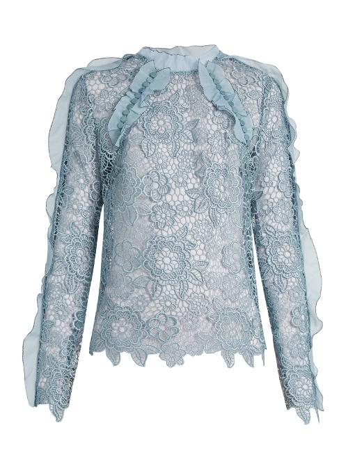 e950f032ba2c98 Self-Portrait Light Blue With Ruffles And Lace Guipure Shirt | ModeSens