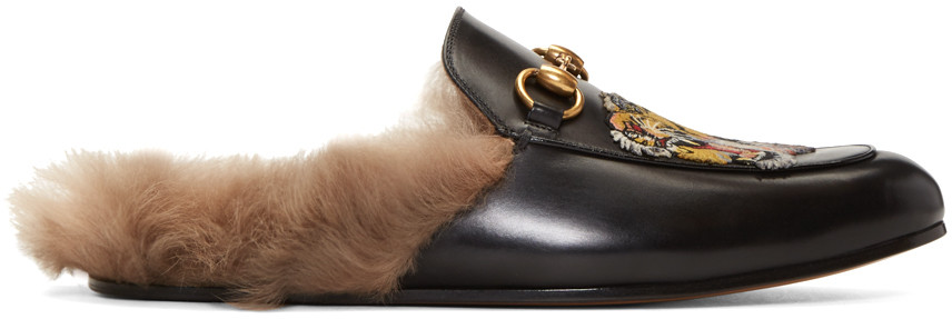 4751cb02a8c Gucci Black Wool-Lined Tiger Princetown Slippers
