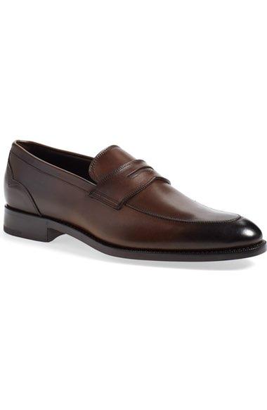 Ermenegildo Zegna Burnished Leather Loafer, Brown In Brown Leather