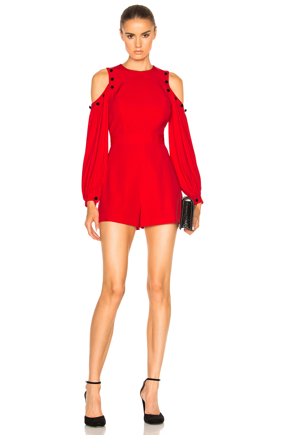 26a8e052949 Alexis Asher Button Trim Cold Shoulder Jumpsuit In Red
