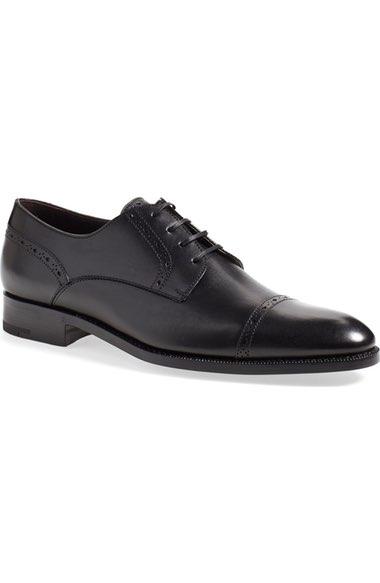 Ermenegildo Zegna 'pistoia' Cap Toe Derby In Black Leather