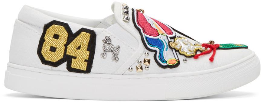 Marc Jacobs Mercer Embellished AppliquÉd Canvas Slip-on Sneakers In White