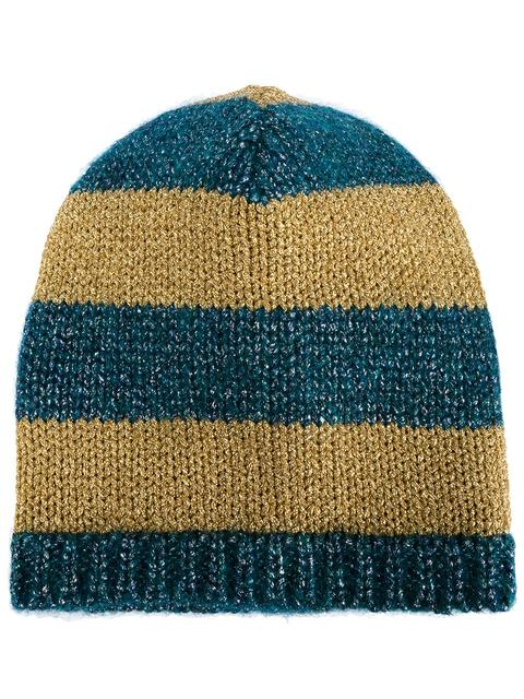 fc66d503a Knitted Metallic Striped Beanie Hat in Blue