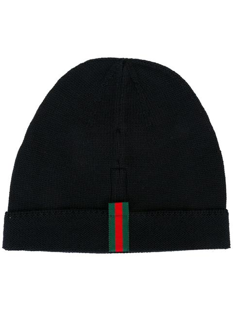 Gucci Web-AppliquÉ Wool Beanie Hat In Blue  b613b5530e2a