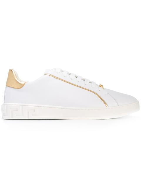Versace Grecco Signature Accented Leather Low-top Sneakers In White