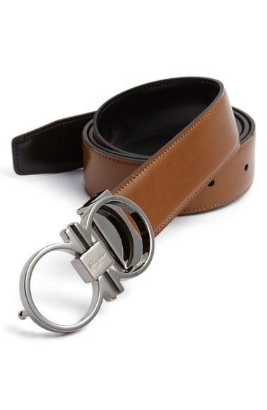Salvatore Ferragamo Adjustable & Reversible Double Gancini Leather Belt In Brown/ Black