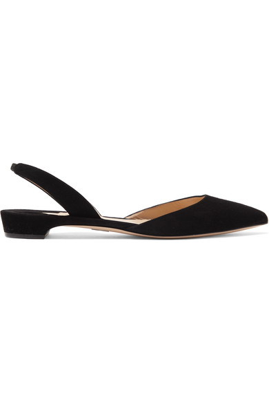 Paul Andrew Rhea Suede Point-Toe Flats In Black