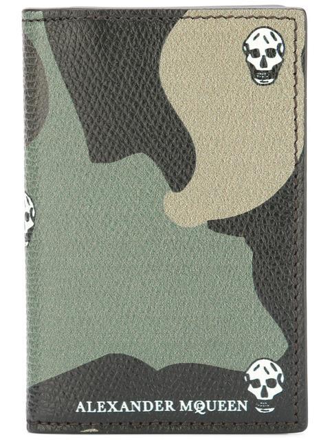 Alexander Mcqueen Skull Camouflage 3 Fold Wallet In Green