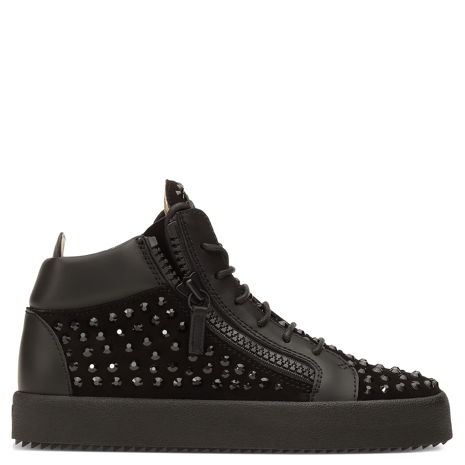 Top Crystals Suede Doris With Sneaker Mid Black nOwPk0