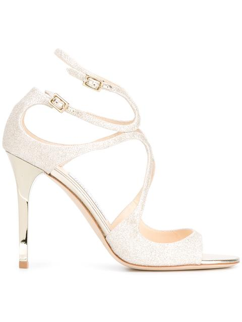 16d1d6b0998be Jimmy Choo 100Mm Lang Dusty Glitter Sandals, Platinum In Metallic ...