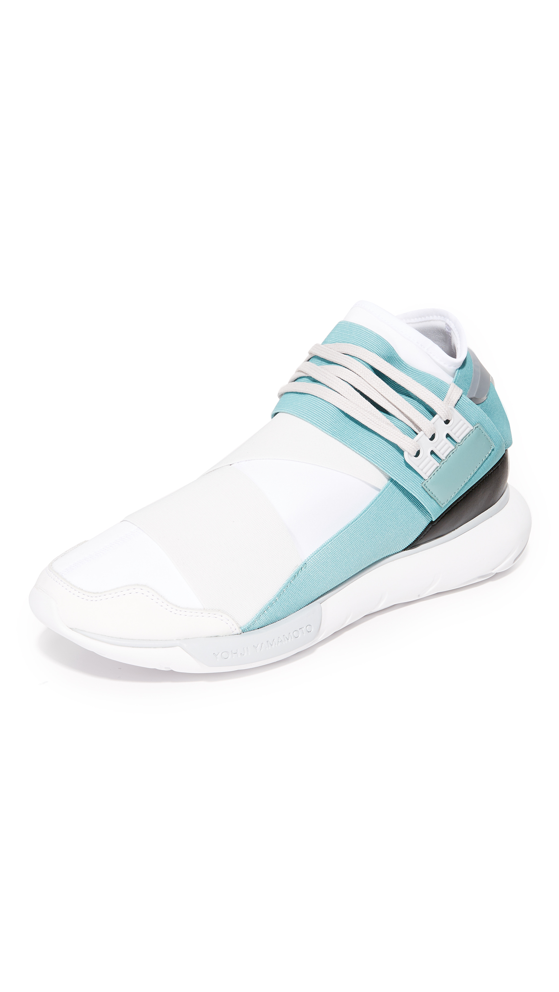 dd5f0a66cfe49 Y-3 Qasa High Neoprene   Leather Sneakers In White