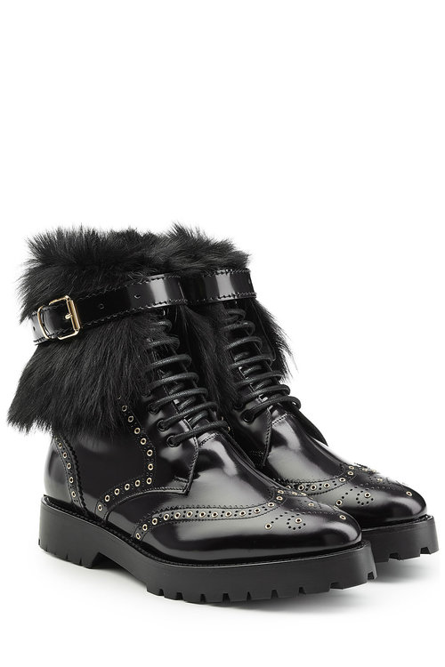ef35554a8924 Burberry Shoes   Accessories Leather Ankle Boots With Shearling In Black