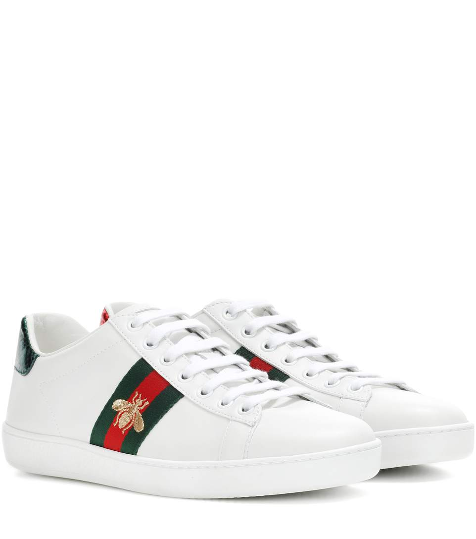 57d89d048 Gucci Ace Watersnake-Trimmed Embroidered Leather Sneakers In 9064 ...