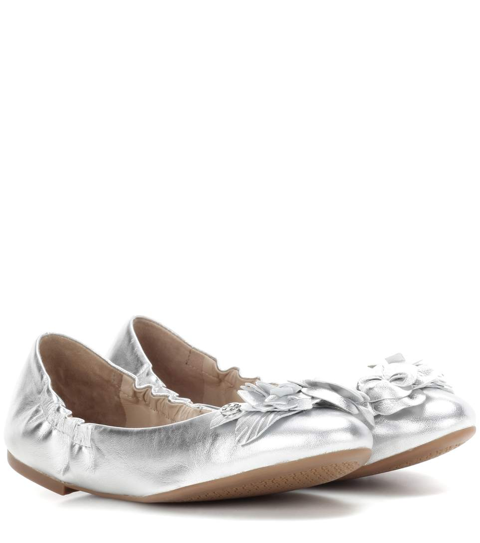 182101fed34e TORY BURCH Blossom Metallic Leather Ballet Flats