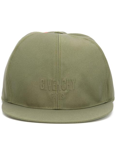 Givenchy Logo Flat-bill Hat With Wing Print, Khaki In Green