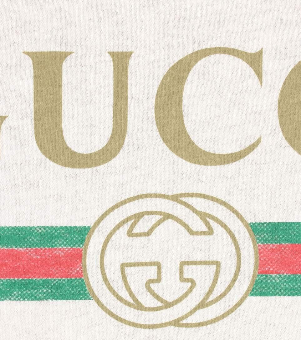 Gucci Women's Faded Logo Floral Embroidered T-Shirt In White In 9234 Natural White/Multi