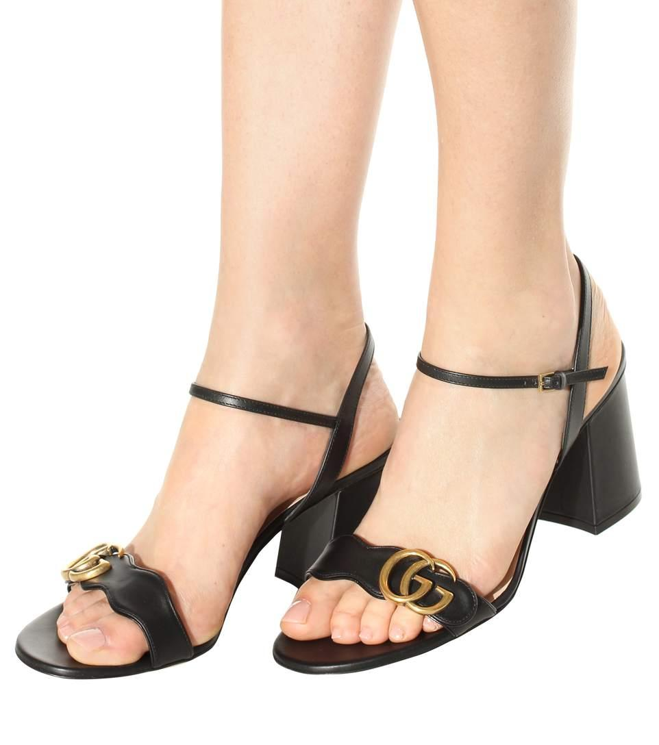 afb289bfe6c Gucci Marmont Logo-Embellished Leather Sandals In Black
