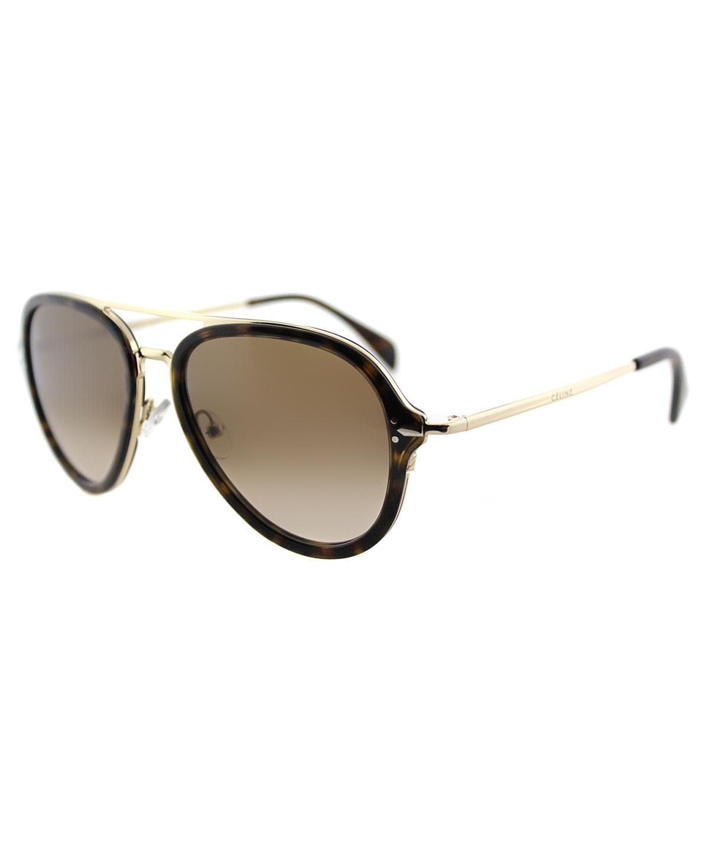 d72e308364b Celine Pilot Plastic Sunglasses In Dark Havana