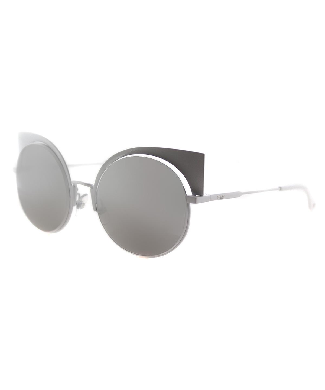 9bb721aff89 Fendi Eyeshine Cat-Eye Metal Sunglasses In White