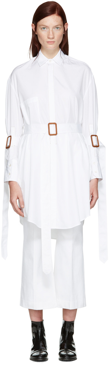 Calvin Klein Collection Katya Bis Cotton Poplin Belted Tunic In White