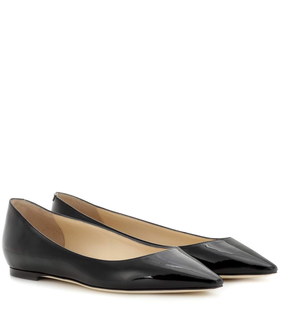 b3bd9569c6 Jimmy Choo Women's Romy Leather Pointed Toe Ballet Flats In Black ...