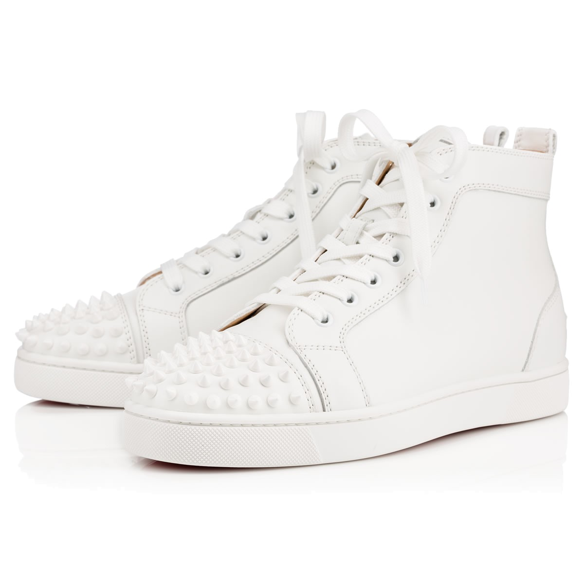 Christian Louboutin Lou Spikes Men s Flat In White White