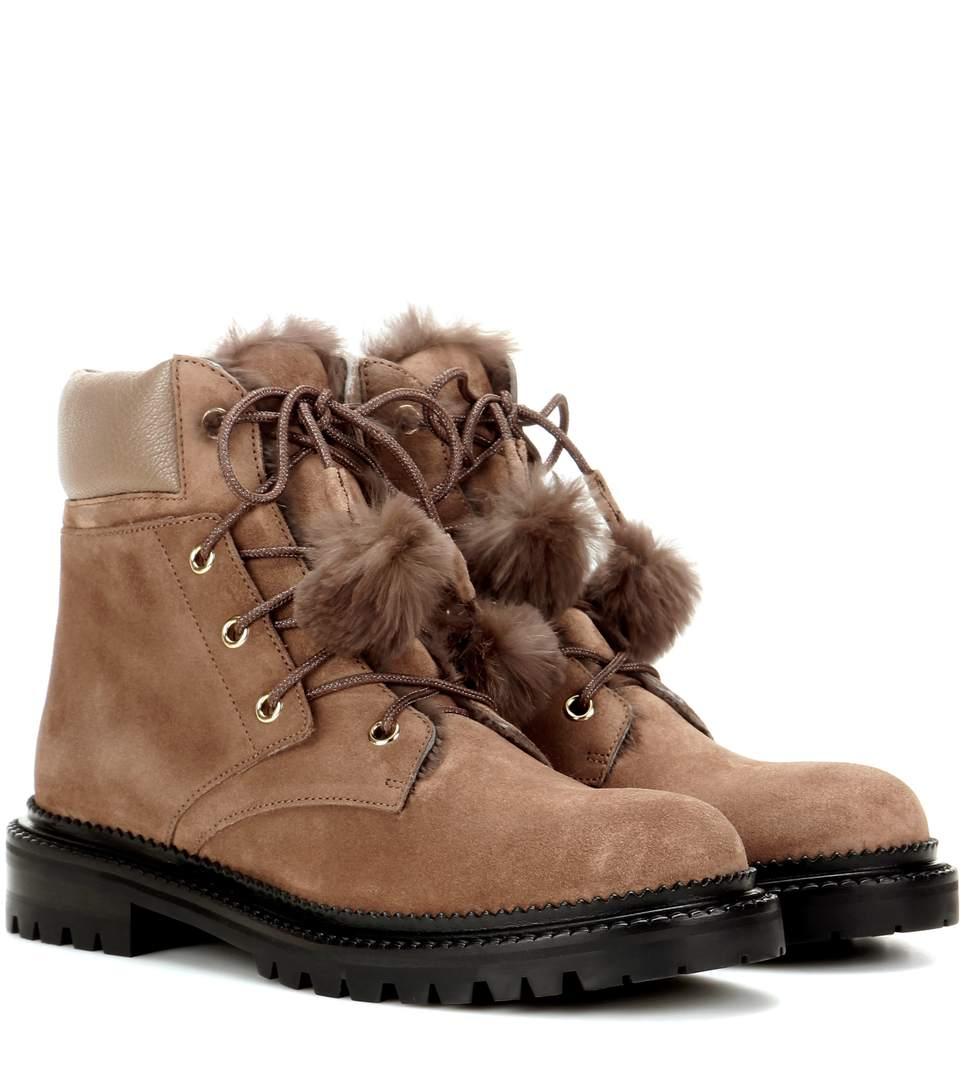 jimmy choo elba flat fur lined suede boots in neutrals modesens rh modesens com