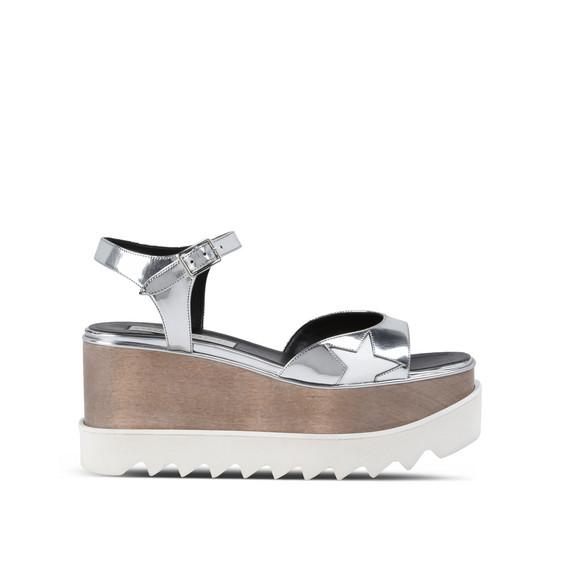 eccb9275e22 Stella Mccartney Indium Elyse Star Sandals In Silver