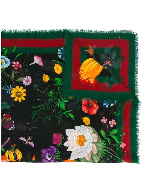 Gucci Flora Web Wool & Silk Shawl, Ivory/green In 1066 Black