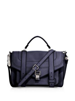 Proenza Schouler Ps1+ Medium Leather Satchel In Indigo