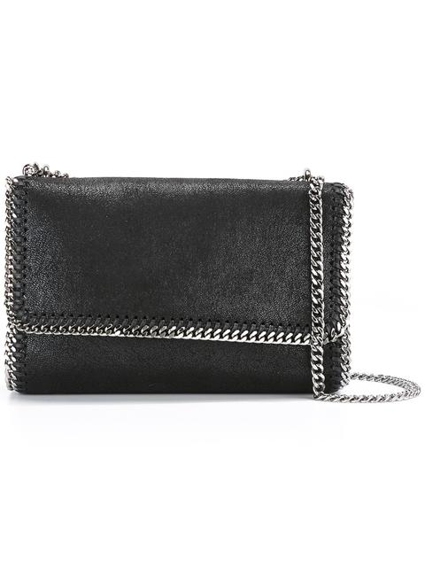 Stella Mccartney Falabella Faux-Suede Sliding Shoulder Bag In Black ... e45975bb73